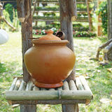 Thai clay jar for drinking water and coconut dipper Royalty Free Stock Photography