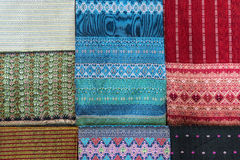 Thai clothes. Collection of Thai silk cloths Stock Images
