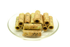 Thai coconut cracker roll on dished. Stock Photos