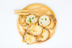 Thai coconut hot pancake on wooden plate Stock Image