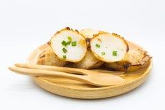 Thai coconut hot pudding on white Stock Photo