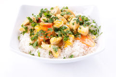 Thai coconut, mango curry with diced chicken and sliced carro Stock Photos