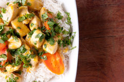 Thai coconut and mango curry with diced chicken and sliced carro Royalty Free Stock Images
