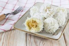 The thai coconut munchkin sweet taste delicious on wood Stock Photos