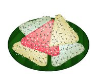 Thai Coconut Pancake on Green Banana Leaf Royalty Free Stock Photos