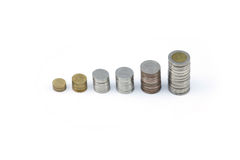 Thai coin (Baht) display by value like increasing graph. Royalty Free Stock Photo
