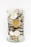 Thai coin in jar without cover. Royalty Free Stock Images