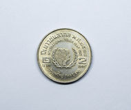 Thai coin,Two Baht commemorative coin International Youth Year. Royalty Free Stock Photos