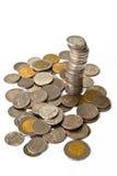 Thai coins. On white background Stock Photos