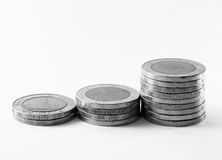 Thai coins arranged on a white background Stock Images