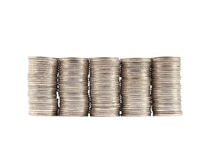 Thai coins baht on white background Royalty Free Stock Photo