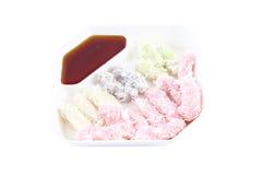 Thai color flour coconut custard Stock Photography