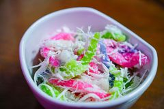 Thai colorful dessert on a cup royalty free stock images