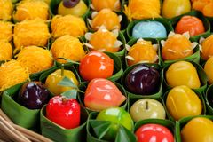 Thai colorful desserts Beautifully arranged. In pandas royalty free stock image