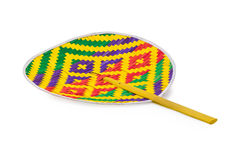 Thai colorful folding fan , that made  of bamboo. Thai colorful folding fan isolated on white background Stock Image