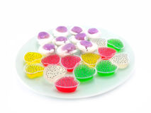 Thai colorful jelly dessert. Kind of thai sweetmeat on white background Stock Photography