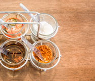 Thai Condiment for Noodle with Four Glasses of Ingredient Stock Image