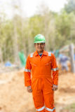 Thai construction site worker Royalty Free Stock Photography