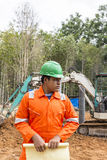 Thai construction site worker Royalty Free Stock Image