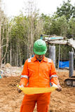 Thai construction site worker Royalty Free Stock Photo