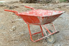 Thai construction wheelbarrow Stock Photo