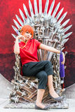 Thai cosplayer dresses as Kagura from Gintama in Oishi World Cos Royalty Free Stock Photo