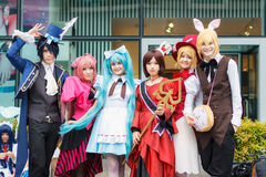 Thai cosplayers dress as the characters from cartoon and game in Japan festa in Bangkok Royalty Free Stock Images