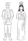Thai Couple. Vector illustration of a couple wearing traditional Thai clothing Stock Image