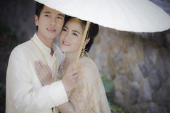 Thai couple in wedding dress Royalty Free Stock Photography