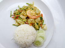 Thai Crab Curry Recipe - The fired curry shrimp and squid, mix seafood with mix vegetable. Phat phong kari in Thai, Thai Food. Stock Photo