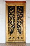 Thai Craft : LAI THAI pattern in Temple and Museum Door Stock Photo