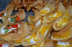 Thai crisp tart khanom buang. Delicious thai sweet crisp tart khanom buang on a street market stock image