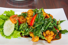 Thai Crispy Chicken with Basil Leaves Stock Photo