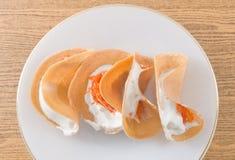 Thai Crispy Pancake with Cream and Shredded Coconut Royalty Free Stock Photo