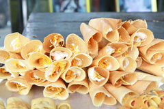 Thai Crispy Pancake sweet and crisp. Stock Photos