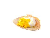 Thai crispy pancake thai dessert on white background Stock Photos