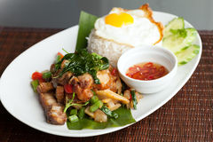 Thai Crispy Pork with Fried Egg Royalty Free Stock Photos