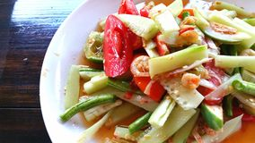 Thai cucumber salad. Somtam, Thai cucumber salad Royalty Free Stock Photos