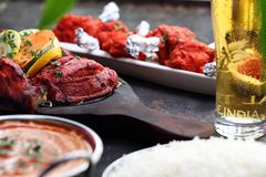 Thai cuisine, aromatic curry dishes. Colorful dishes royalty free stock photography