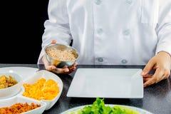 Thai cuisine. Chef making thai cuisine, Rice Mixed with Shrimp paste in restaurant stock photo