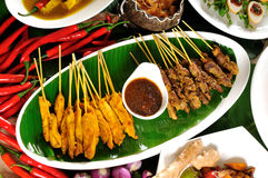 Thai cuisine,Chicken Satay,Beef Satay. Royalty Free Stock Image