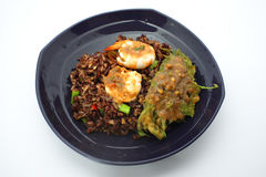 Thai cuisine , Chilli paste fried rice with prawn and Fried Egg Royalty Free Stock Image