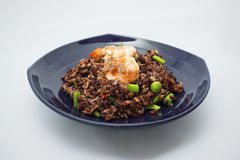 Thai cuisine , Chilli paste fried rice with prawn and Fried Egg Stock Image