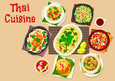 Thai cuisine dinner with asian dishes icon. Thai cuisine dinner dishes icon of rice with egg, fried shrimp rice, squid vegetable salad, chicken coconut soup Stock Images