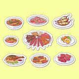 Thai cuisine dishes isolated labels. Tom yam soup, steamed rice, satay skewers, green curry, fish and crabs, noodles with shrimp and green papaya salad Royalty Free Stock Photo