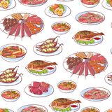 Thai cuisine dishes on white background. Seamless pattern with tom yam soup, steamed rice, satay skewers, green curry, fish and crabs, noodles. Asian Stock Photo