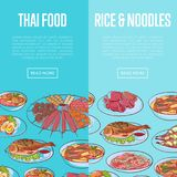 Thai cuisine flyers with asian dishes. Thai cuisine flyers with delicious asian dishes. Restaurant advertising with tom yam soup, steamed rice, satay skewers Stock Image