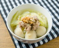 Lettuce Clear Soup with Pork and Meat Ball Royalty Free Stock Photography