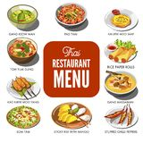 Thai cuisine food traditional dish vector icons for Thailand restaurant menu Stock Image