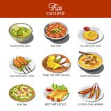 Thai cuisine food and traditional dishes. Of gang keow wan, pad thai noodles, soup tom yum gun, rice paper rolls or som tam salad and stuffed chili pepper Stock Image